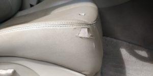 レザーシートリペア 座面横の大きな破れをリペア 日産 シーマ